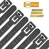 Reusable Zip Ties Heavy Duty Round Ending No Hurt 6+8+10+12 Inch 200 Packs Assorted Size Tie Wraps Ultra Strong Durable Black Cable Ties Indoor Outdoor Multi-Purpose No Slip Off (200, Black)