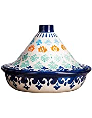 Hand Painted Natural Tagine Pot, Ceramic Pots for Stew Casserole Slow Cooker Lead Free Home Cookware Pot for Different Cooking Styles 104 (Color : Blue)