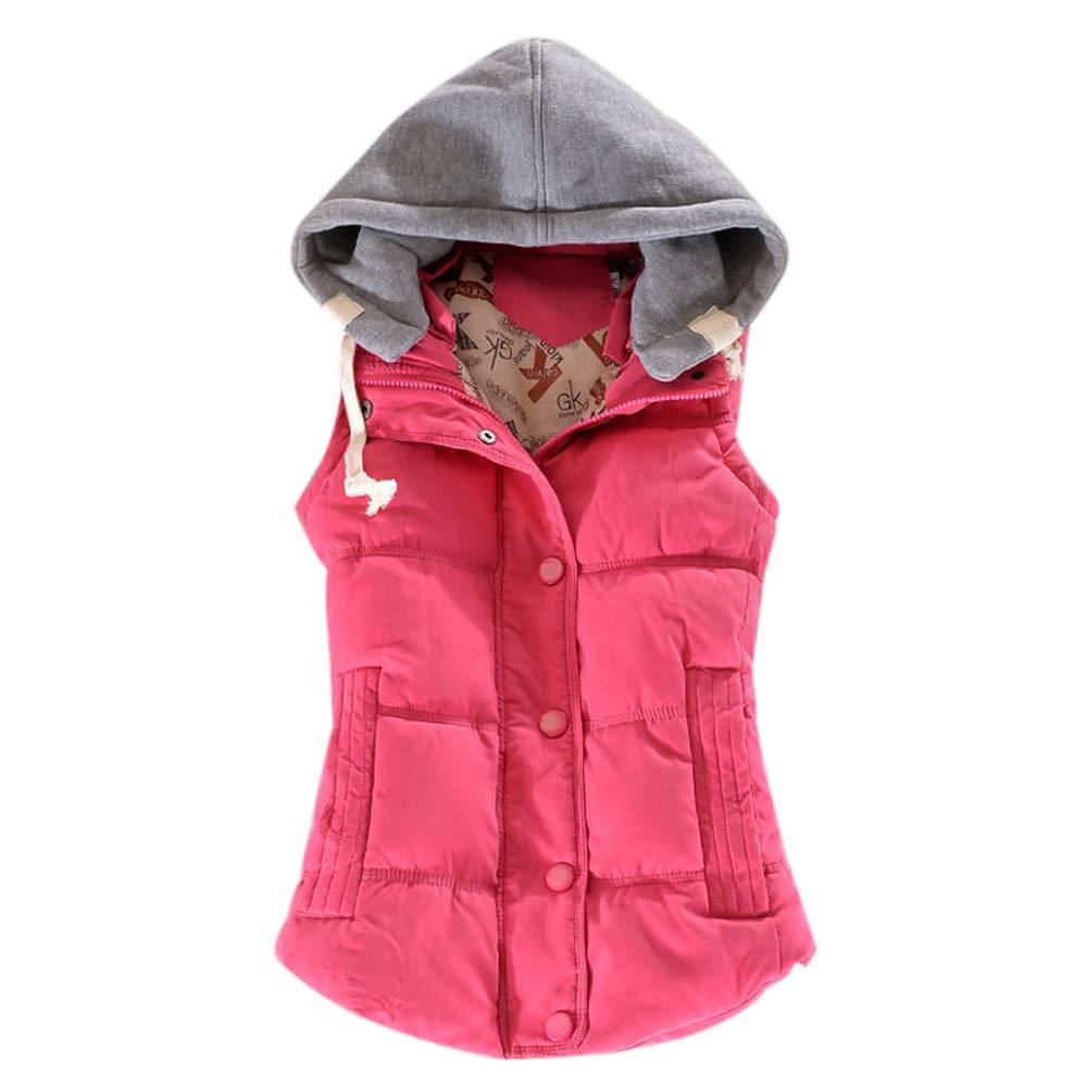 DAZISEN Women Warm Gilet - Autumn Winter Solid Color Cotton Button Design Hooded Simple Jacket