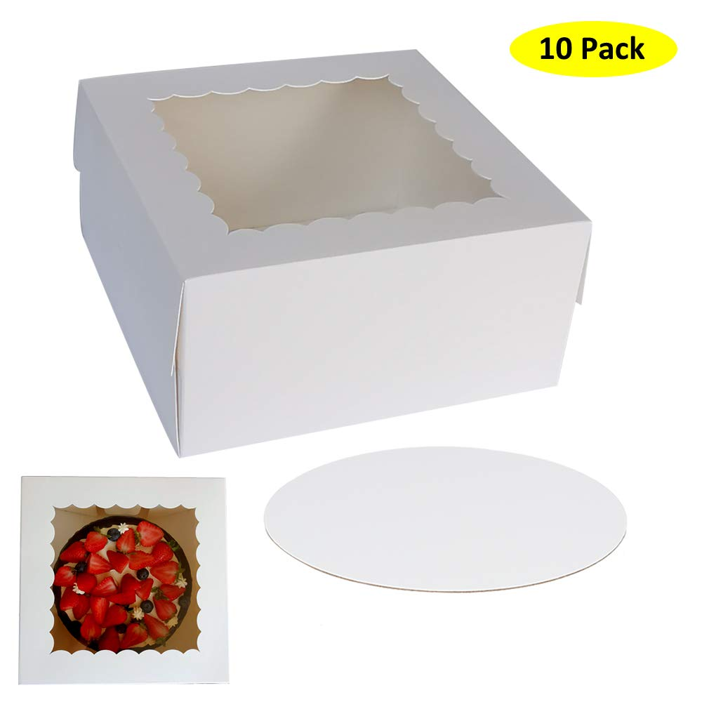 """10"""" x 10"""" x 5"""" Cake Boxes with Window & 10"""" Round Cake Boards(10 Pack of Each), Paperboard Cake Baker Box for Bakery, Cakes, Pastries by ZMYBCPACK"""