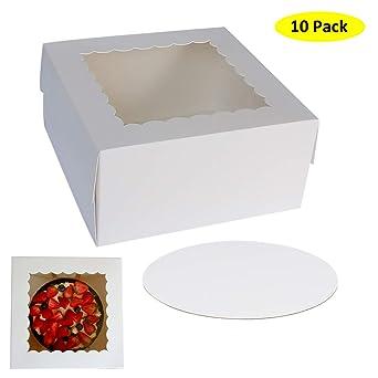 ZMYBCPACK - Cajas para tartas con ventana de 25,4 x 25,4 x 12,7 cm ...