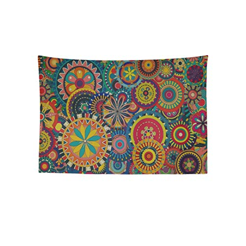 AIKENING Wall Tapestry Colorful Floral Pattern Wallpaper Colorful Wallpap Printed Tapestry Wall Hanging Boho Mandala Hippie Tapestry Wall Art Decor for Living Room Bedroom Dorm 80x60 Inch