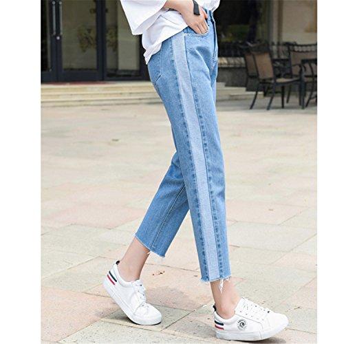 Auspiciousi Bottoni A Vita Jeans Alta 26 Pantaloni Tasca Blue Con 32 Donna Vintage Chiusura Denim In Righe Laterali Blu rwgrfq