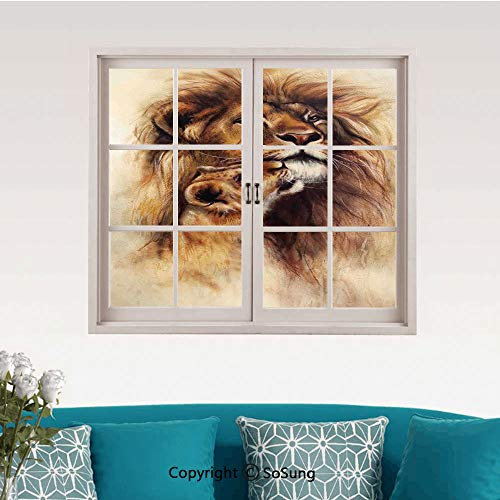 Safari Decor Removable Wall Sticker/Wall Mural,Painting of Loving Lion and her Baby Cub Snuggle Wildlife Nature Expression Safary Theme Image Creative Close Window View Wall Decor,24