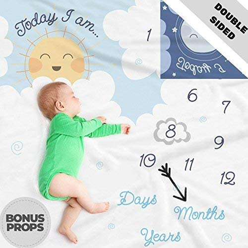 Double Sided Monthly Baby Milestone Blanket- Month Blanket for Baby Pictures | Photo Blanket with Baby Photo Props | Monthly Blankets for Newborns | Personalized Baby Boy and Girl Milestone Blanket