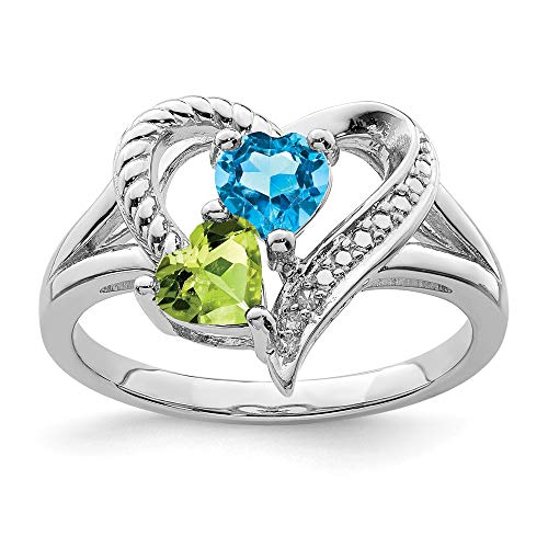 925 Sterling Silver Blue Topaz Green Peridot Diamond Band Ring Size 8.00 S/love Gemstone Fine Jewelry Gifts For Women For Her -