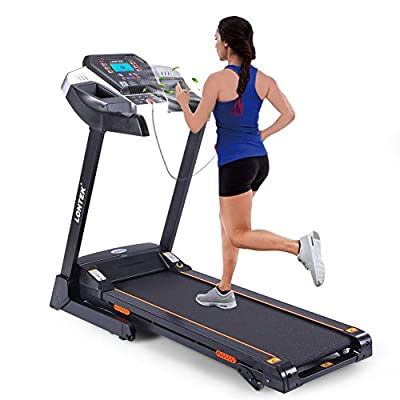 Easy Assembly Folding Treadmill Electric with Fan,14KM/H, Bluetooth & MP3, Heart Rate Monitor and LCD Screen, with 12 predefined programs (Black)