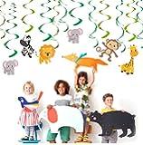 Bdecoll Pack of 30 Jungle Animals Party Swirl Decorations Cartoon Animal Soffitto Ricciolo Animali Giungla Feste per feste a tema
