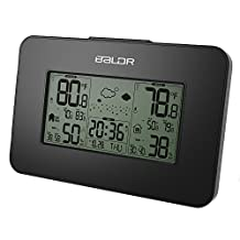 BALDR Indoor And Outdoor Blue Backlit Electronic Thermometer Hygrometer Weather Station With Transmitter Clock , black