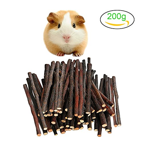 Malier 200g (7oz) Apple Sticks Pet Snacks Chew Toys for Guinea Pigs Chinchilla Hamster Rabbits Parrot Squirrel Gerbil Degus Rodents Small Animals ( About 50 - 70 Sticks ) (Hamster Gerbil Guinea Pig)