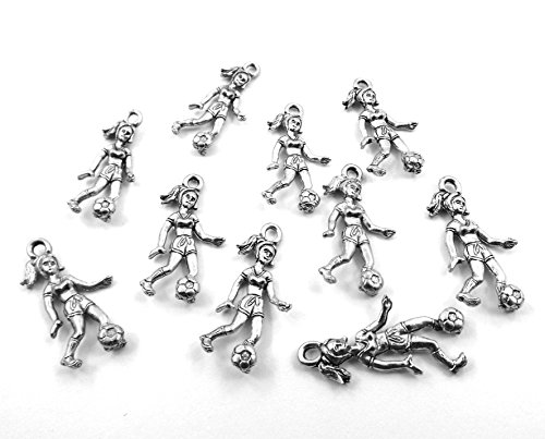 Set of Ten (10) Silver Tone Pewter Girl Soccer Player Charms