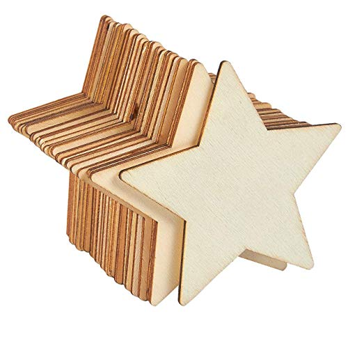 (Unfinished Wood Cutout - 24-Pack Star Shaped Wood Pieces for Wooden Craft DIY Projects, Gift Tags, Home Decoration, 4 x 4 x 0.1 inches)