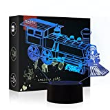 Echodream Christmas Gift Magic Choochoo Train Lamp 3D Illusion 7 Colours Touch Switch USB Insert LED Light Birthday Present and Party Decoration