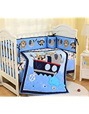 SpringBaby Baby Crib Bedding Set 7 Piece Nursery Crib Bedding Set for Boys, Including Comforter, Crib Skirt, Sheet, Bumpers (Blue Nautical Animals)