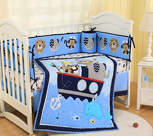 Spring Baby Crib Bedding Set 7 Piece Nursery Crib Bedding Set for Baby Boys, Including Comforter, Crib Sheet, Crib Skirt, Bumpers (Blue Nautical Animals - 7 Piece) from SpringBaby