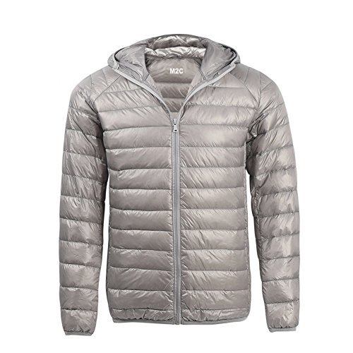 - M2C Mens Hooded Lightweight Windproof Puffer Duck Down Jacket Medium Grey