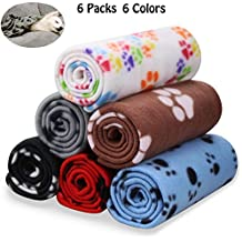 Comsmart Warm Paw Print Blanket/Bed Cover for Dogs and Cats, 6 Pack of 24x28...