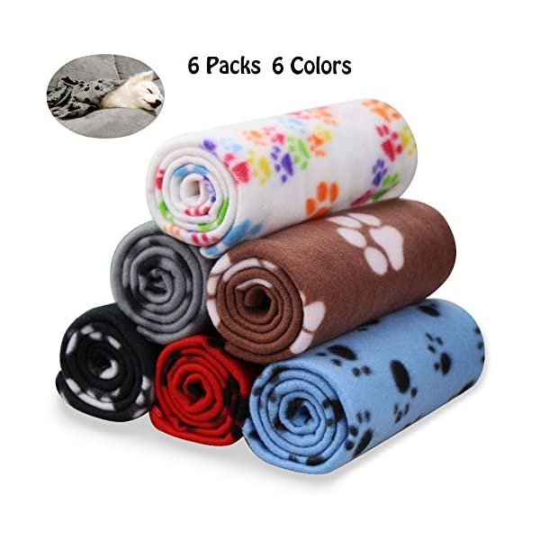 Comsmart Warm Paw Print Blanket/Bed Cover for Dogs and Cats, 6 Pack of 24×28 Inches