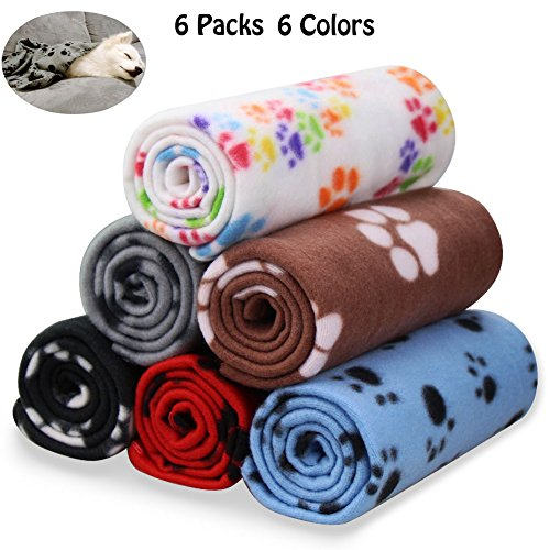 (Comsmart Warm Paw Print Blanket/Bed Cover for Dogs and Cats, 6 Pack of 24x28 Inches)
