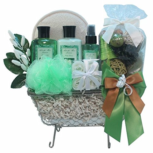 Essence of Jasmine Bathtub Spa Bath and Body Gift Basket Set (Gift Basket Ideas For Auctions)