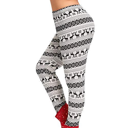 Franterd Plus Size Christmas Leggings Women Christmas Elk Print Mid Waist Elastic Sports Yoga Pants Jogging L-5XL]()