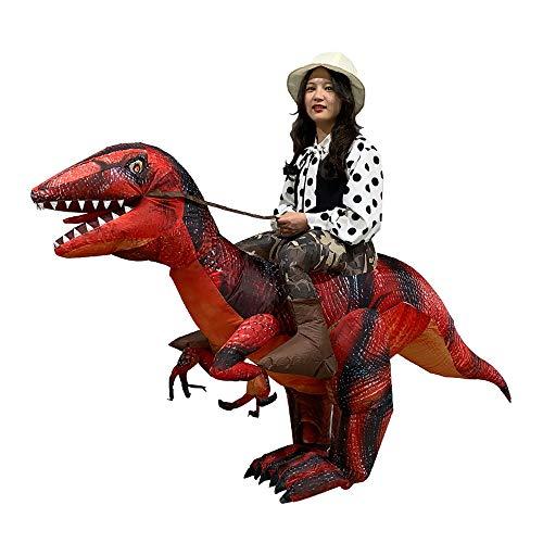 ハロウィーン パーティー 恐竜 着ぐるみ コスチューム 恐竜コスプレ ライダー服恐竜 大人用 男女共用 怪獣 空気充填 膨張式 衣装セットキャラクター扮衣装 イベント USB携帶充電サポートです (Red-Raptors)
