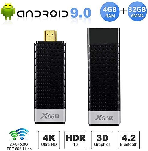 Android TV Stick X96S 4GB RAM 32GB ROM Dual-WiFi 2.4GHz//5GHz Bluetooth Quad-core 3D//4K UHD//H.265//HDR USB 3.0