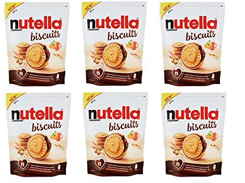 6X Ferrero Nutella Koekjes Cookies Gevuld met Nutella Koekjes met Hazelnoot Cream Bag van 304g Zoete Snack
