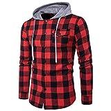 Mens Hoodie Sweatshirt Ankola Men's Autumn Winter Casual Long Sleeve Button Plaid Pullover Hooded Top Sweatshirt Hoodies (XL, Red)