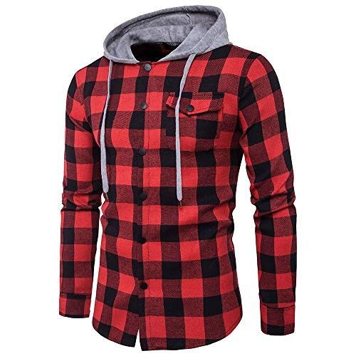 ZYEE Clearance Sale! Men's Autumn Blouse Casual Plaid Shirts Long Sleeve Pullover Shirt Top Hooded Blouse