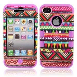 Cell Accessory Triangle Pattern Protective Silicone Hard Case for iPhone 4/4S Red + Purple
