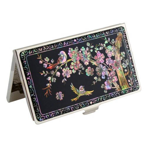 Antique Alive Mother of Pearl Bird Pink Plum Flower Design Slim Business Credit Card Holder Case (B117)