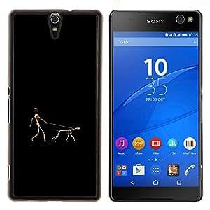 For Sony Xperia C5 Ultra Case , Divertido humano y perro Walk- Diseño Patrón Teléfono Caso Cubierta Case Bumper Duro Protección Case Cover Funda
