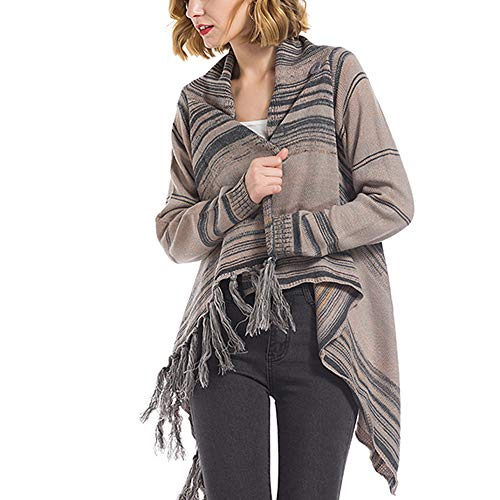 Bibowa Ladies Cable Knit Sweater Loose with Fringe Striped Asymmetrical Elegant Long Cardigan Sweater 2 Wear Style Grey L