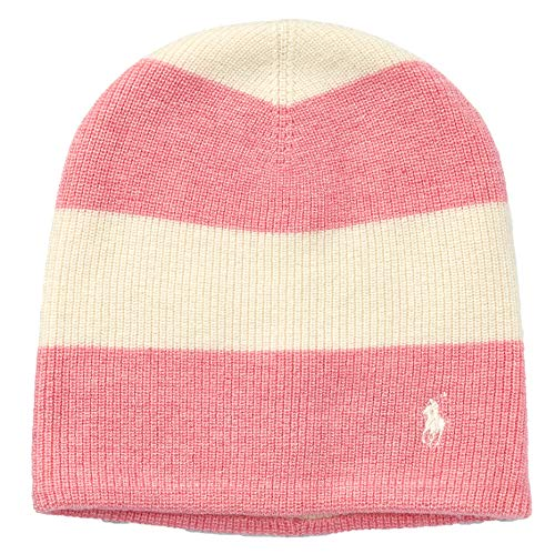 Polo Ralph Lauren Rugby Striped Wool Blend Slouchy Hat (Ivory(0372)/Pink, 2T-4T)