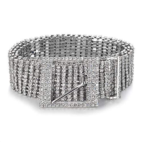Women's Crystal Rhinestone Sparkly Chain Waist Buckle Belt Sash Waistband Accessory (1.1 Inch, Silver)