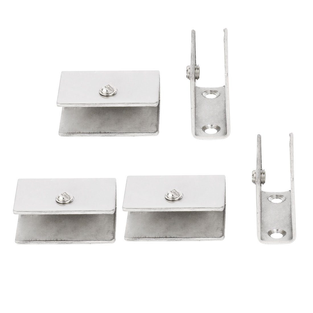 uxcell Adjustable Brushed Stainless Steel Door Glass Shelf Clamp Brackets Clips Holder Support 5pcs