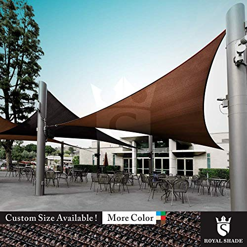 Royal Shade Custom Size Order to Make Sun Shade Sail Canopy Mesh Fabric UV Block Triangle – Commercial Standard Heavy Duty – 200 GSM – 5 Years Warranty Right Triangle 20 x 20 x 28.3 , Brown