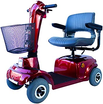 Mobiclinic, Piscis, Scooter eléctrico personas con movilidad reducida, adultos, minusválidos, discapacitados, 4 ruedas, Desmontable, Manillar plegable, asiento giratorio, Auton. 34 km, 12V, Burdeos