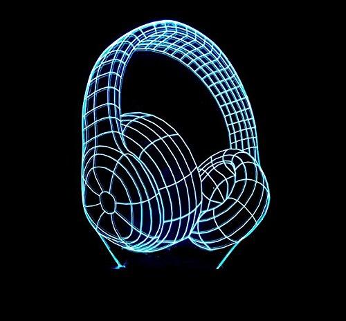 Luz Nocturna 3D auriculares colorido colorido colorido usb ilusión óptica decoración cumpleaños Navidad regalos protección del medio ambiente 8e61f5