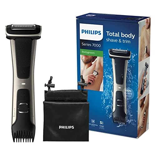 chollos oferta descuentos barato Philips Serie 7000 BG7025 15 Afeitadora corporal con cabezal de recorte y de afeitado 80 minutos de uso apta para la ducha color negro dorado