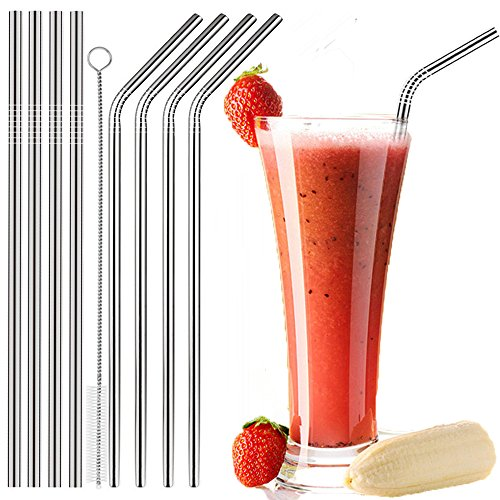 Stainless Steel Drinking Straws Set of 8 - 10.43 inch Reusable Drinking Straw for Milk Shake and Smoothies, Fits all 30 Oz Trail Tumblers, RTIC, Yeti, 8 Drinking Straws with 1 Cleaning Brush