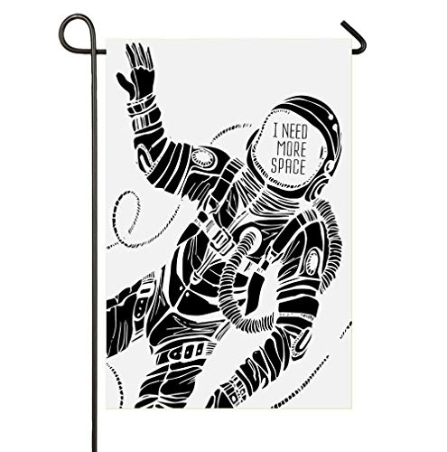 HUNAFIVG Premium Decorative Flags for Outdoors, Motivation Calligraphy with Astronaut in The Costume Gravity Artwork Home Garden Decorative Happy St Patrick's Day Garden Flag]()