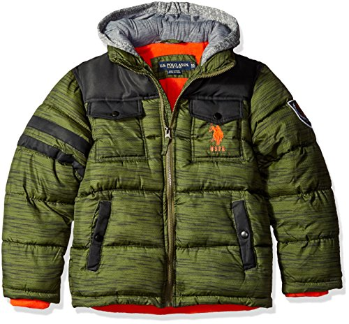 U.S. Polo Assn. Big Boys' Bubble Jacket (More Styles Available), Olive Heather a, 14/16