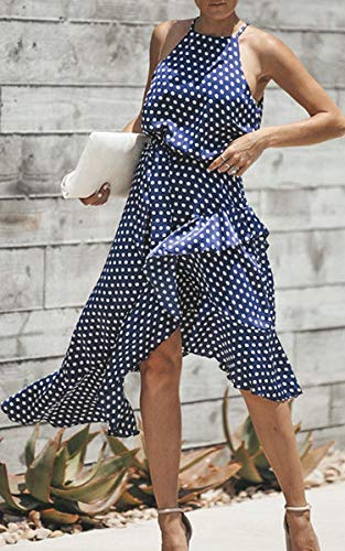3XL Waist Cocktail Neck Polka Womens Blue S Sundress Sleeveless Tie Irregular Sexy Boho ECOWISH dot Halter Dress Midi X0aq0
