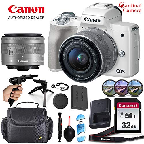 Canon EOS M50 Mirrorless Camera (White) and Canon 15-45mm f/3.5-6.3 is STM Lens Along with Padded Equipment Case + Elemental Accessory Bundle