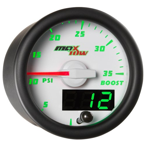 MaxTow Double Vision 35 PSI Turbo Boost Gauge Kit - Includes Electronic Pressure Sensor - White Gauge Face - Green LED Illuminated Dial - Analog & Digital Readouts - for Trucks - 2-1/16 52mm