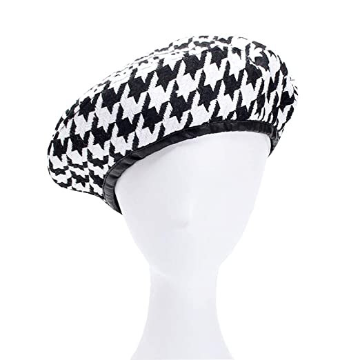 e46fae23733 Image Unavailable. Image not available for. Color  Ulzzang Houndstooth  Autumn Winter Beret Fashion Hat