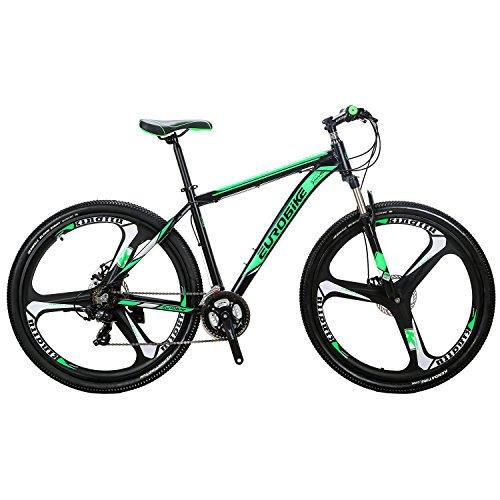 EUROBIKE Mountain Bike 21 Speed 3-Spoke 29 Inches Wheels Dual Disc Brake Aluminum Frame MTB Bicycle Black-green