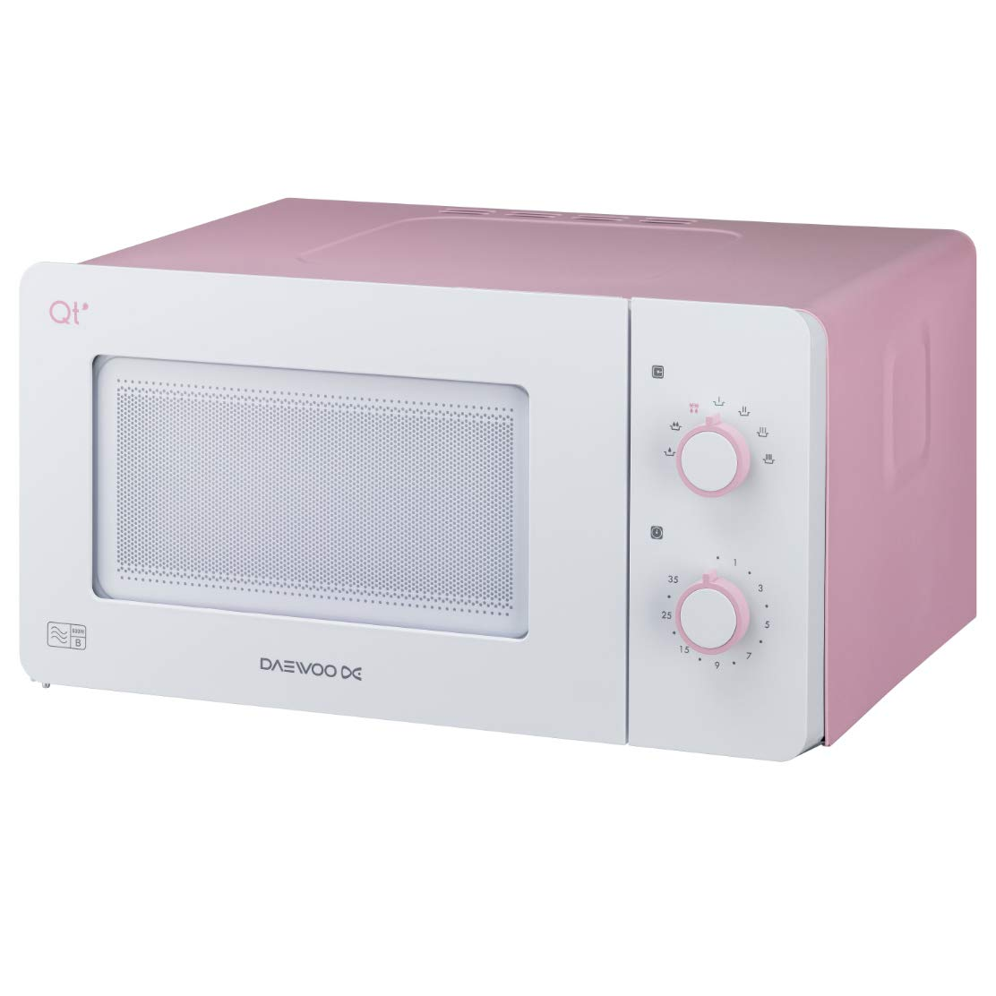 Daewoo QT3R Compact Manual Control Microwave Oven, 600 W, 14 Litres, Pink/White